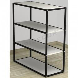 038160BL Expositor 4 estantes negro madera blanca 108x64x39 cm