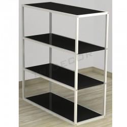 038159NG. Expositor 4 estantes blanco madera negra 108x64x39 cm. Tridecor