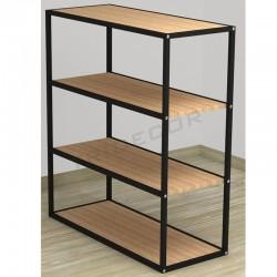 038162AB Expositor 4 estantes negro madera abedul. Tridecor