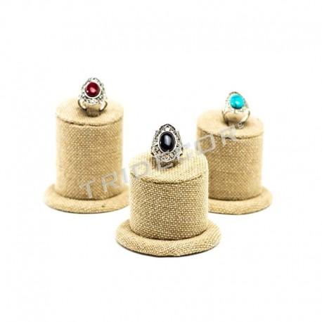 Expositor joyería para anillos, 3 alturas, lino grueso, tridecor