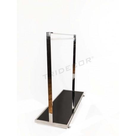 GARMENT RACK STEEL WITH GLASS BASE BLACK