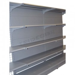 Metal shelf with grey sheet metal, 120x150cm, tridecor