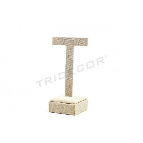 Expositor en T para pendientes lino beige 11.5x4.5x6.5 cm