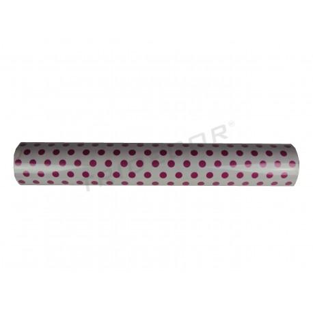 Papel de regalo lunares fucsias, fondo blanco 62cm