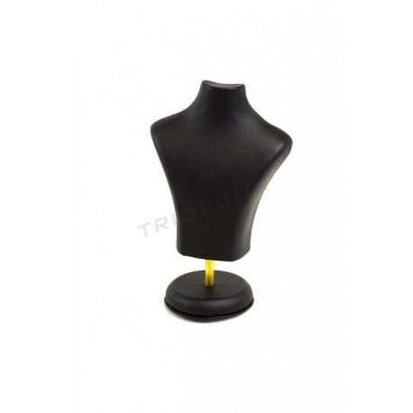Buste de bijoux, en simili-cuir noir. 20x15x6 cm, tridecor