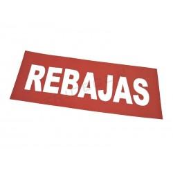 "CARTEL ""REBAJAS"", ROJO. 100X35 CM"