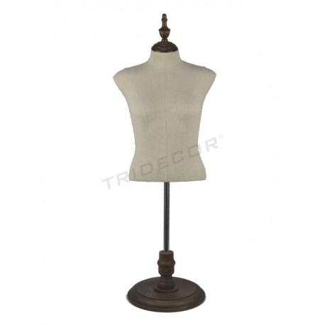 Busto de muller tecido de liño base de madeira