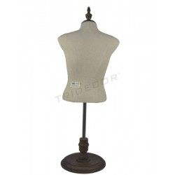 Bust of woman fabric linen wood base