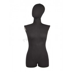 040074 Busto mujer sobremesa tela negra, tridecor