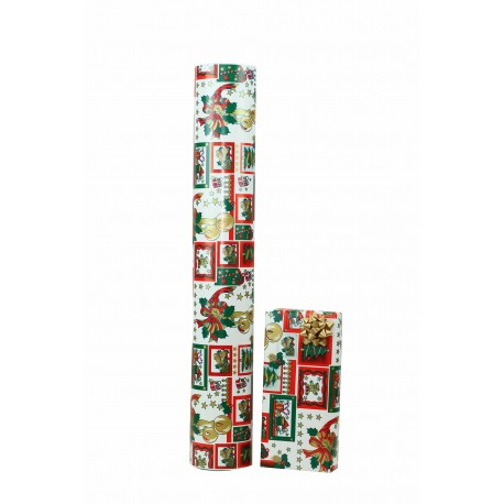 Papel de regalo blanco motivos navideños 62cm, tridecor