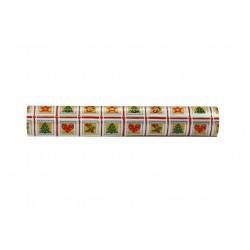 Papel de embrulho prata estampas de natal verde vermelho dourado 62cm