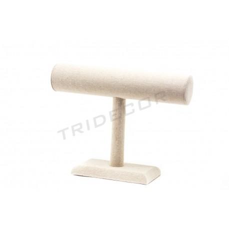 Expositor de pulseras lino beige 25x19x7.5 cm, tridecor