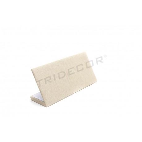 Expositor pulseras en lino beige 25x11.5x8 cm, tridecor