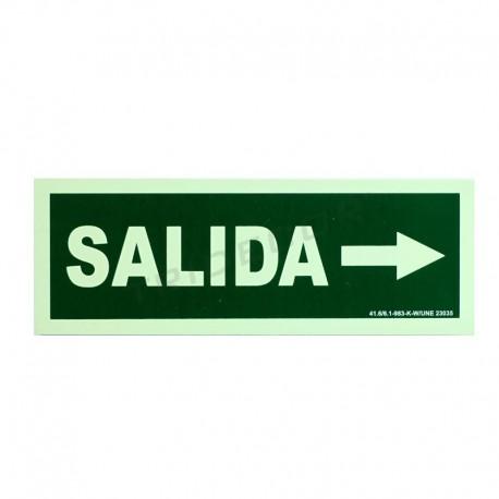 Cartel de saída para o dereito de 30x10.5cm de cor verde