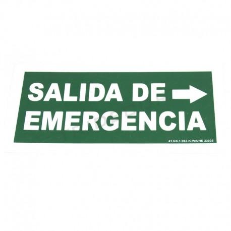 Cartel salida de emergencia a la derecha 30x15cm color verde