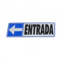 CARTAZ ENTRADA À ESQUERDA 17.5X6 CM COR AZUL