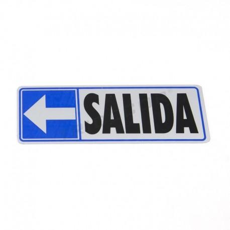 Cartaz saída à esquerda, de 17,5x6cm cor azul e cinza