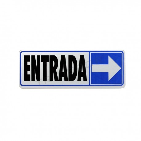 Cartel of entry to the right of 17.5x6cm color blue