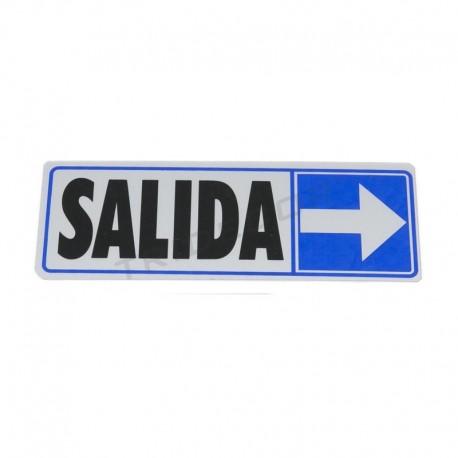 Cartaz saída à direita de 17.5x6cm cor azul