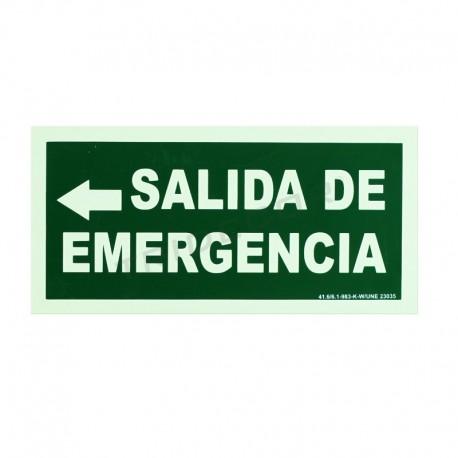Cartel salida de emergencia a la izquierda 30x15cm color verde, tridecor