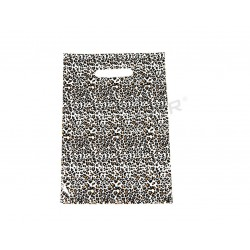 PLASTIC BAGS LEOPARD-PRINT WITH DIE CUT HANDLE OF 25X35CM 100 UNITS