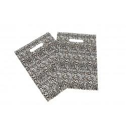 PLASTIC BAGS LEOPARD-PRINT WITH DIE CUT HANDLE OF 25X35CM 100 UNITS