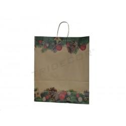 Bolsa Navidad papel kraft, 48x45+16 cm. 25 unidades, tridecor