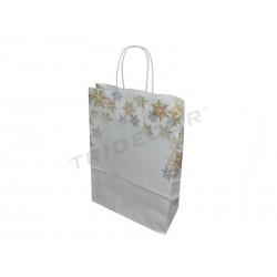 010930 Bolsa de papel copos de nieve 32x41+13 25 unidades. Tridecor