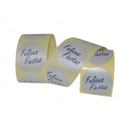 014475 Etiqueta para regalos felices fiestas fondo plata. Tridecor