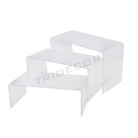 Expositor acrilico forma C tres alturas, tridecor