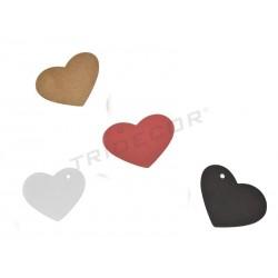Etiquetas colgantes corazón varios colores, Pequeñas tridecor