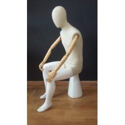 Maniquí sentado hombre con tela y brazos articulados, tridecor
