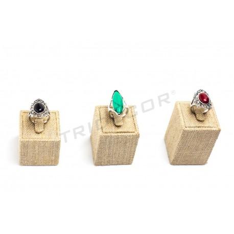 Expositor para anillos lino grueso, 3 alturas, tridecor