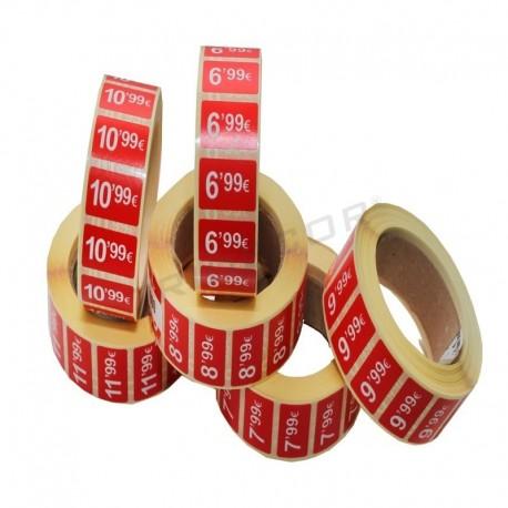 6014009 Etiquetas de precios rojas 25x10 mm 100 unidades, tridecor