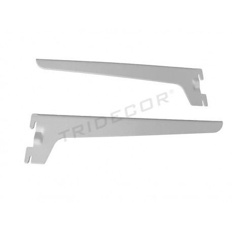 002393 Supporto per mensola in legno o vetro bianco 30 cm Tridecor