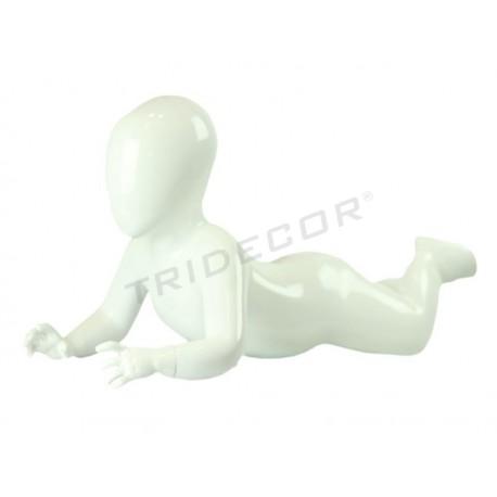 040866 Maniqui niño tumbado blanco brillo, tridecor