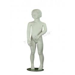 Maniquí de noia de nen de fibra de vidre mat blanc 4 anys