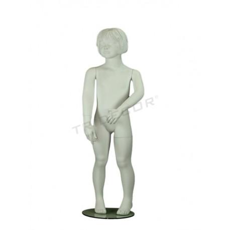 040304 Maniquí de niña esculpido blanco brillo, tridecor