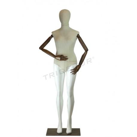 模特的女性与白色米色的布料