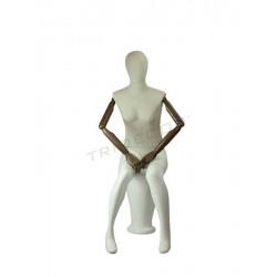 040875 Maniquí mujer entada blanco brillo y tela de lino, tridecor