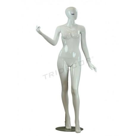 Maniquí mujer blanco brillo pestaña azul