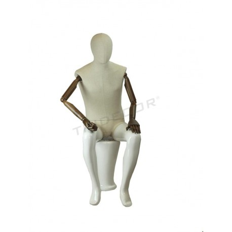Maniquí hombre sentado blanco brillo con tela, brazos articulados, tridecor