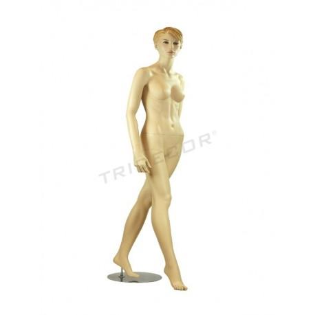 040609 Maniquí mujer color carne y pelo esculpido, tridecor