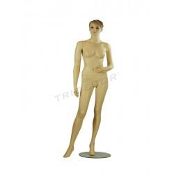 040789 Maniquí mujer carne con pelo esculpido, tridecor