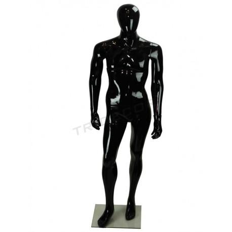 040604 Maniquí hombre negro brillo sin facciones tridecor