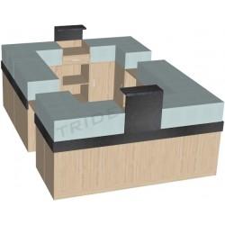Mueble Recepción en isla 250x350x120 cm Tridecor
