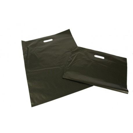 Bolsas de plástico con morrer corte tratar, e reforzado 50x60 centímetros, en cor negro e ouro puntos.