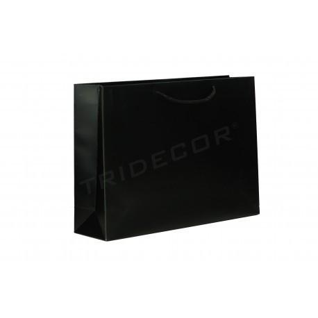 Bolsa de papel plastificado con asa de cordón,14+6X11cm, color negro mate -12 unidades