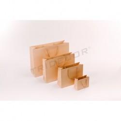 Bolsas de papel asa cordón 14x11x6 cm Crema 12 unidades Tridecor