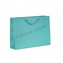 Bolsa de papel plastificado con asa cordón,14+6x11cm,color azul ,12 unidades